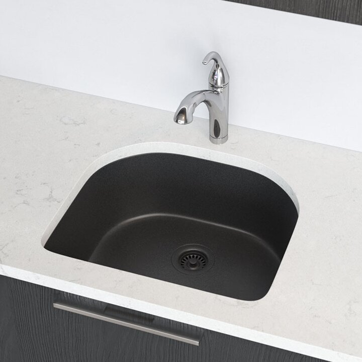 Granite Composite Undermount Kitchen Sinks Renbyelkay granite composite 25 x 22 undermount kitchen sink with granite composite 25 x 22 undermount kitchen sink with basket strainer workwithnaturefo