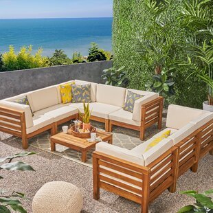 Galindo Outdoor 9 Piece Sectional Seating Group with Cushions
