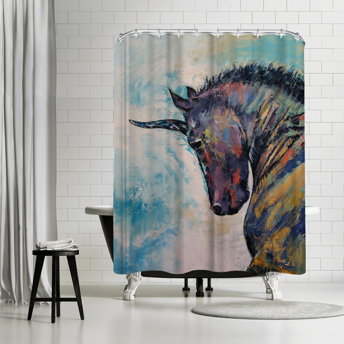 East Urban Home Michael Creese Unicorn Single Shower Curtain Wayfair