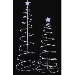 led lighted spiral christmas trees yard decoration set of 2 - Lighted Christmas Tree Lawn Decoration