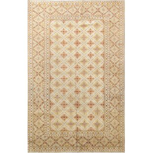 One-of-a-Kind Petrarch Kashan Genuine Persian Hand-Knotted 6'6 x 10'2 Wool Beige/Yellow Area Rug ByIsabelline