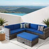 Chenese 4 Piece Rattan Sectional Seating Group with Cushions by Latitude Run®
