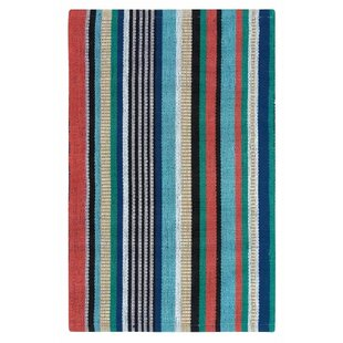 Farmhouse Stripe Hand-Woven Red/Green Indoor/Outdoor Area Rug