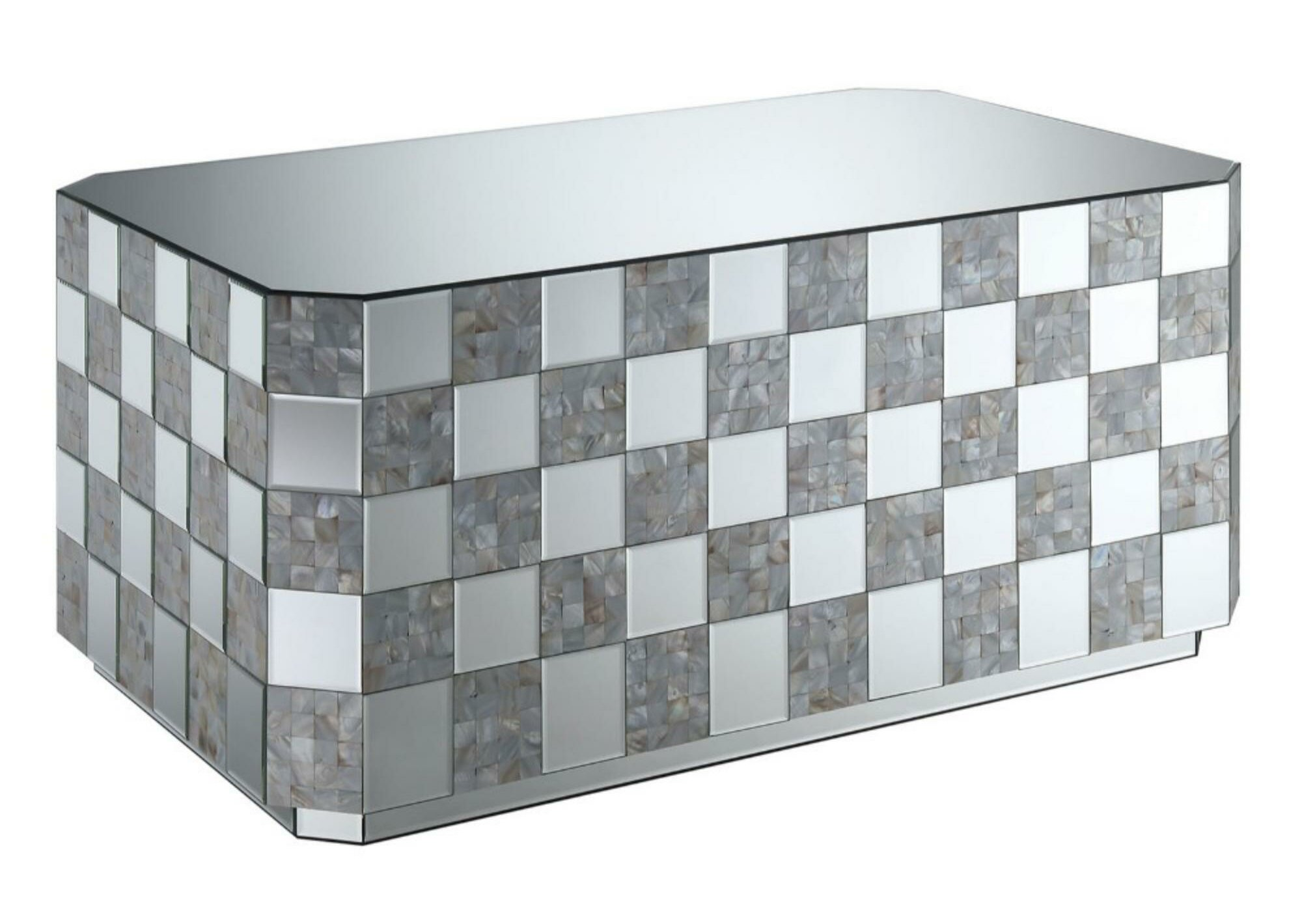 mizpah contemporary mirrored coffee table