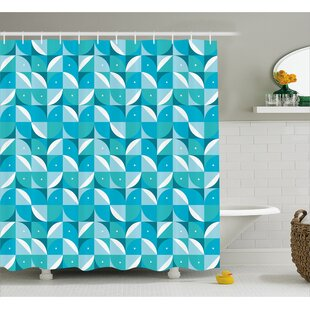 Ewing Half Circles Triangle Shower Curtain + Hooks