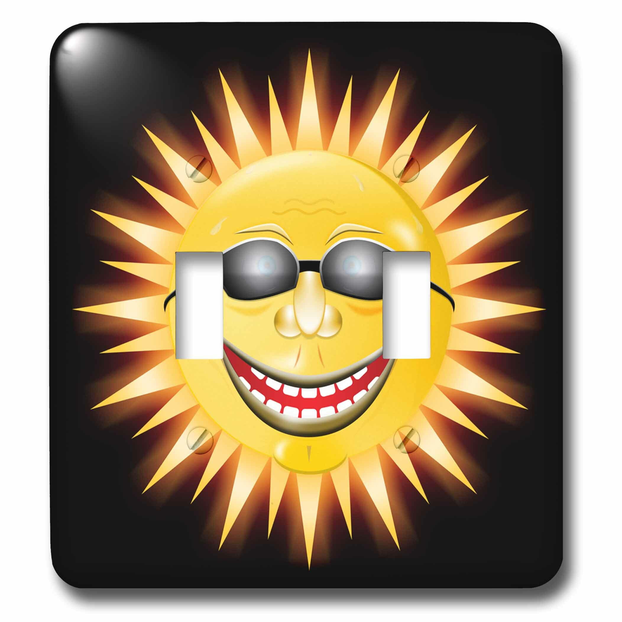 3drose Smiling Sunshine A Happy Sunny Face Wearing Sunglasses With A Smile 2 Gang Toggle Light Switch Wall Plate Wayfair