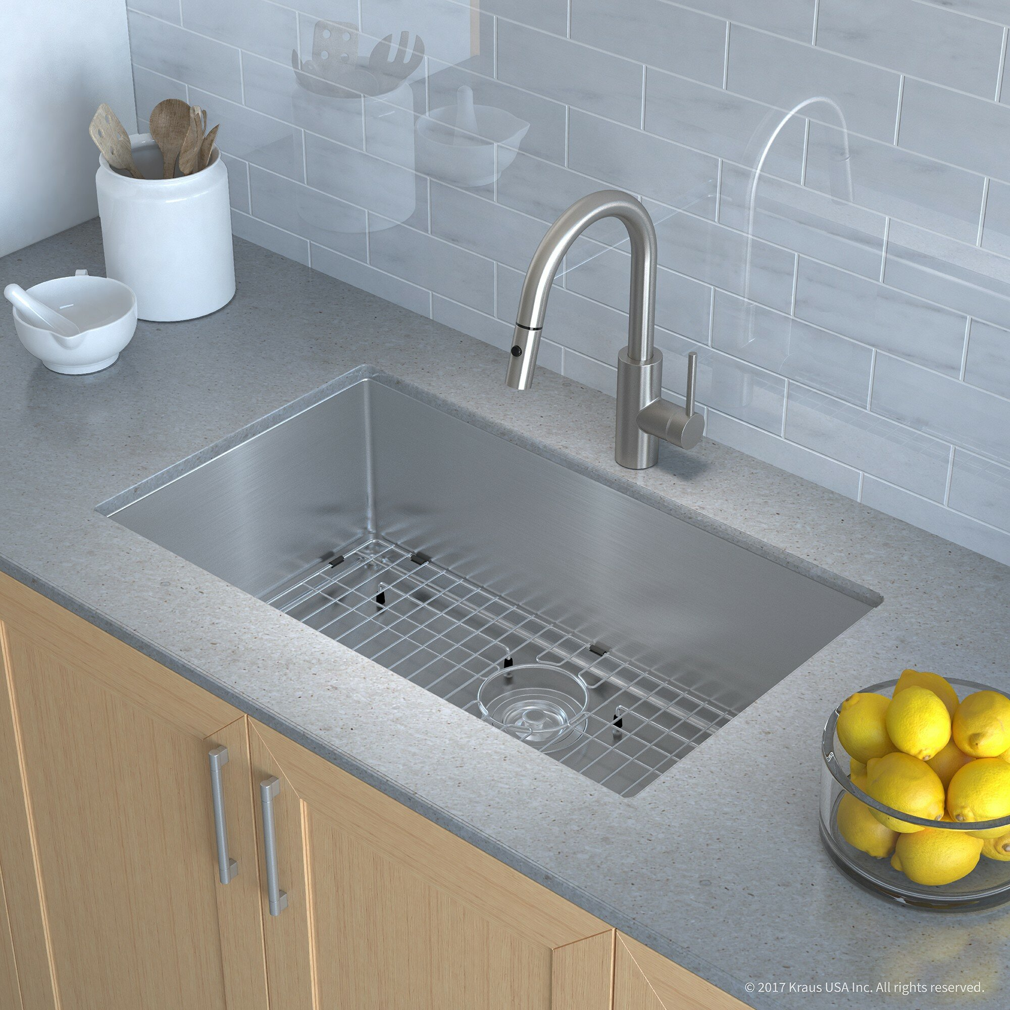 "Kraus Handmade Series 30"" x 18"" Undermount Kitchen Sink with Faucet ..."