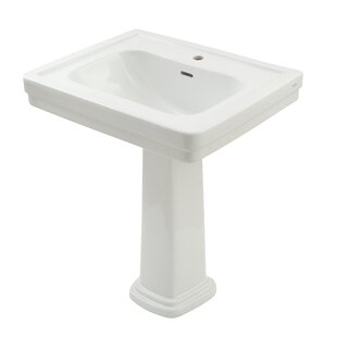 Reviews Promenade Vitreous China 35 Pedestal Bathroom Sink with Overflow By Toto