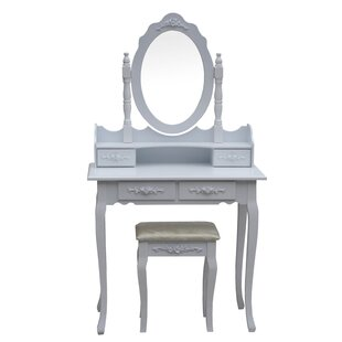 Astoria Grand Marques Floral Accented Bedroom Dressing Table Vanity Set with Mirror