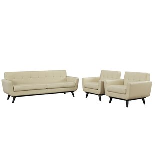 Corrigan Studio Saginaw Leather 3 Piece Living Room Set
