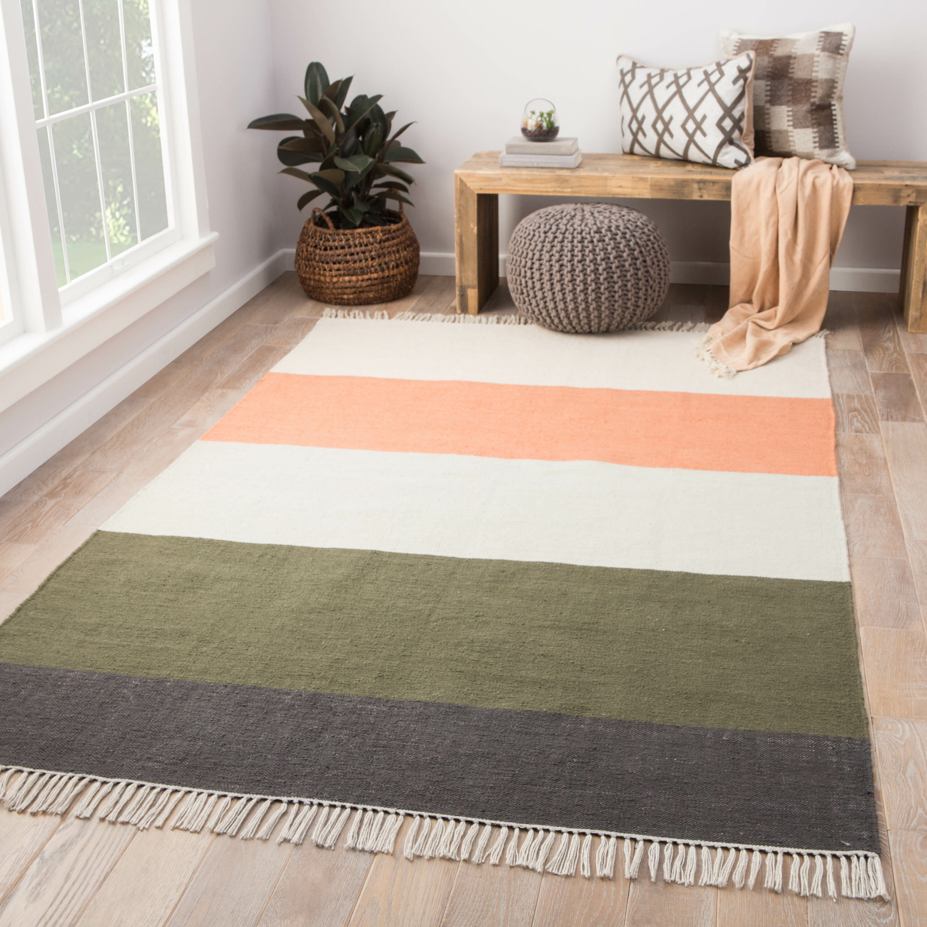 Striped Handwoven White Green Light Salmon Charcoal Gray Indoor Outdoor Area Rug Reviews Allmodern