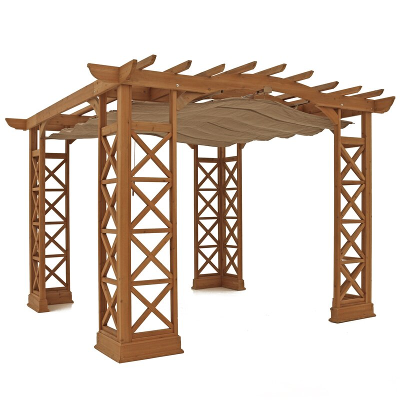 Preston 12 x 12 Pergola with Retractable Sunshade - Yardistry Preston 12 X 12 Pergola With Retractable Sunshade