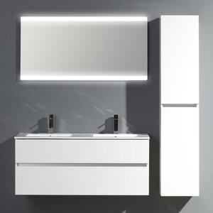 Belfry Bathroom 120 cm Wandmontierter Waschtisch Ceramic Line für Doppelbecken mit Spiegel und Aufbewahrungsschrank