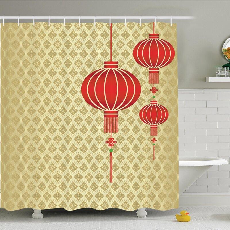 Ambesonne Chinese Lantern Baroque Artsy Shower Curtain Set   Wayfair