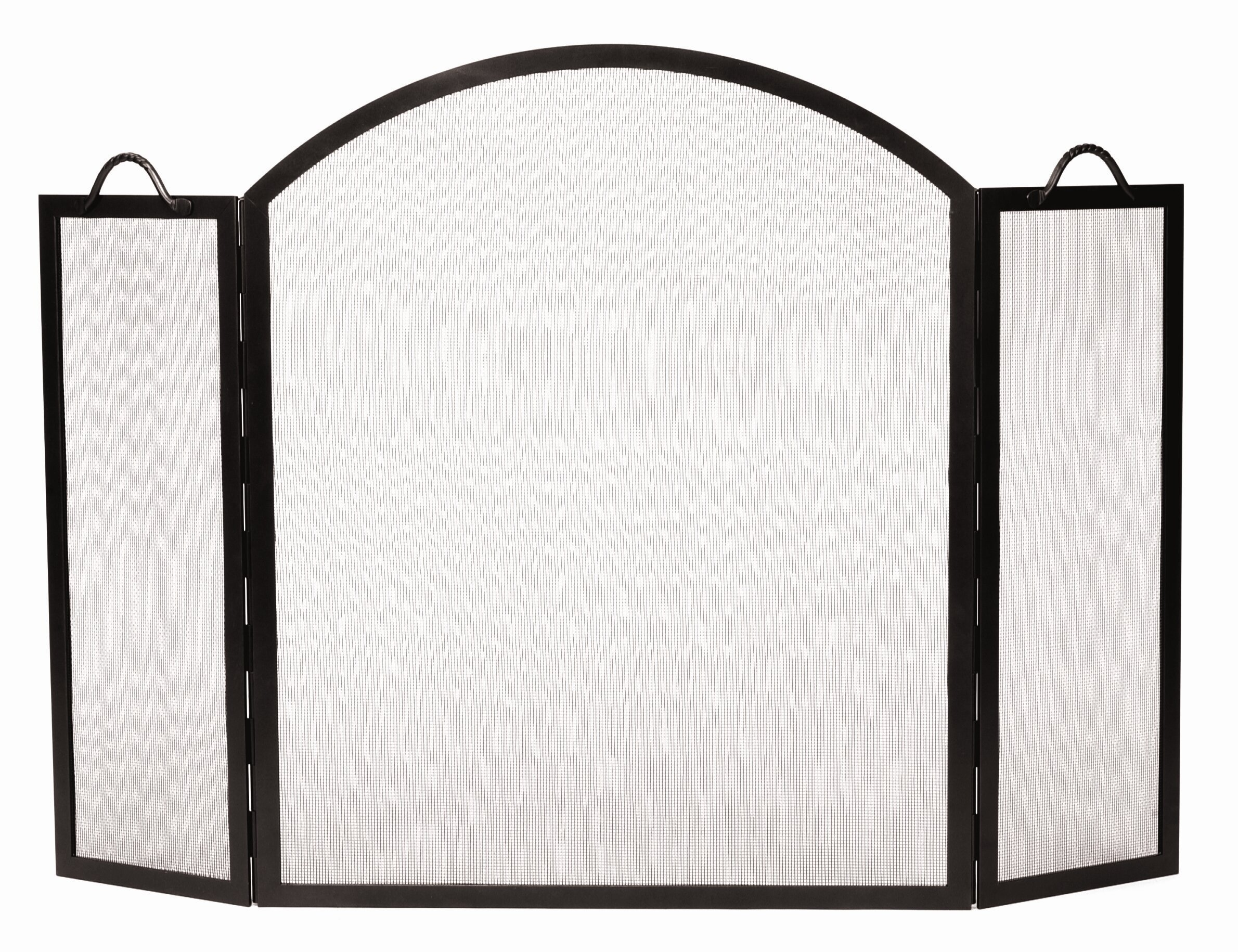 Minuteman 3 Panel Arched Top Twisted Rope Wrought Iron Fireplace