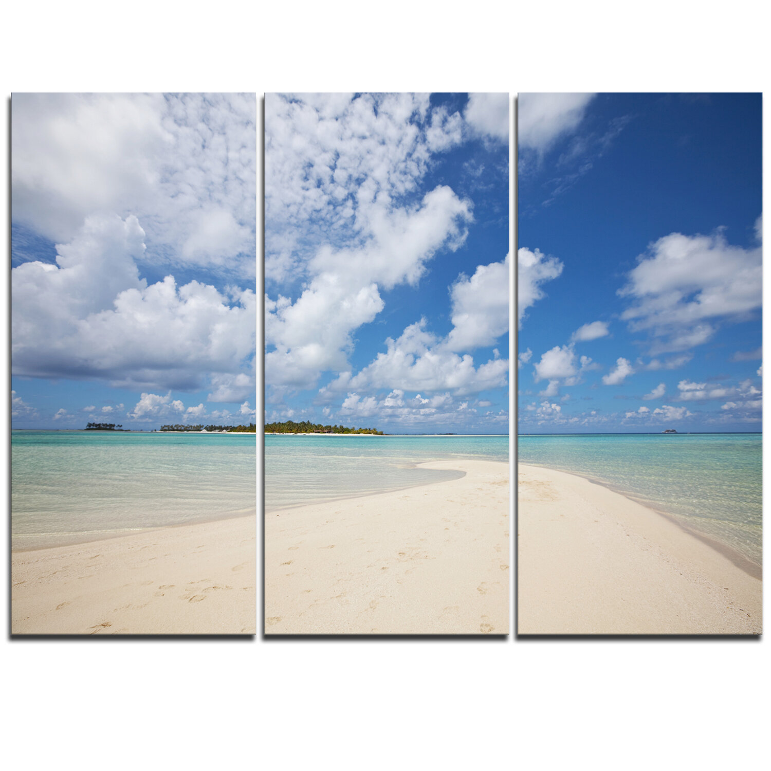 Discount Serene Maldives Beach Under Clouds 3 Piece Graphic Art On Wrapped Canvas Set Furniture Online