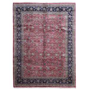 Sebaa Kashan Hand Woven Wool Red/Black Area Rug