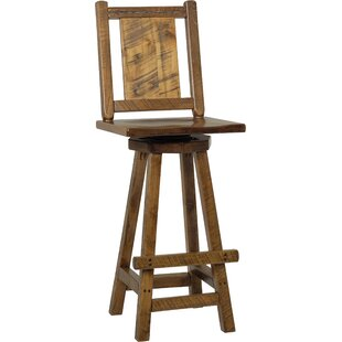 Topaz Western Twist Swivel Bar Stool - Provincial Stain (Set of 2) Millwood Pines