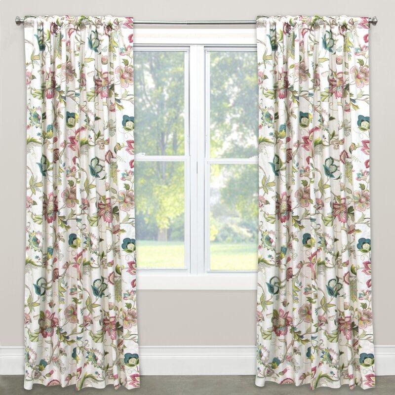 Beautiful Nature/Floral Blackout Rod Pocket Single Curtain Panel