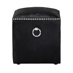 Nishi Leather Cube Ottoman By Everly Quinn
