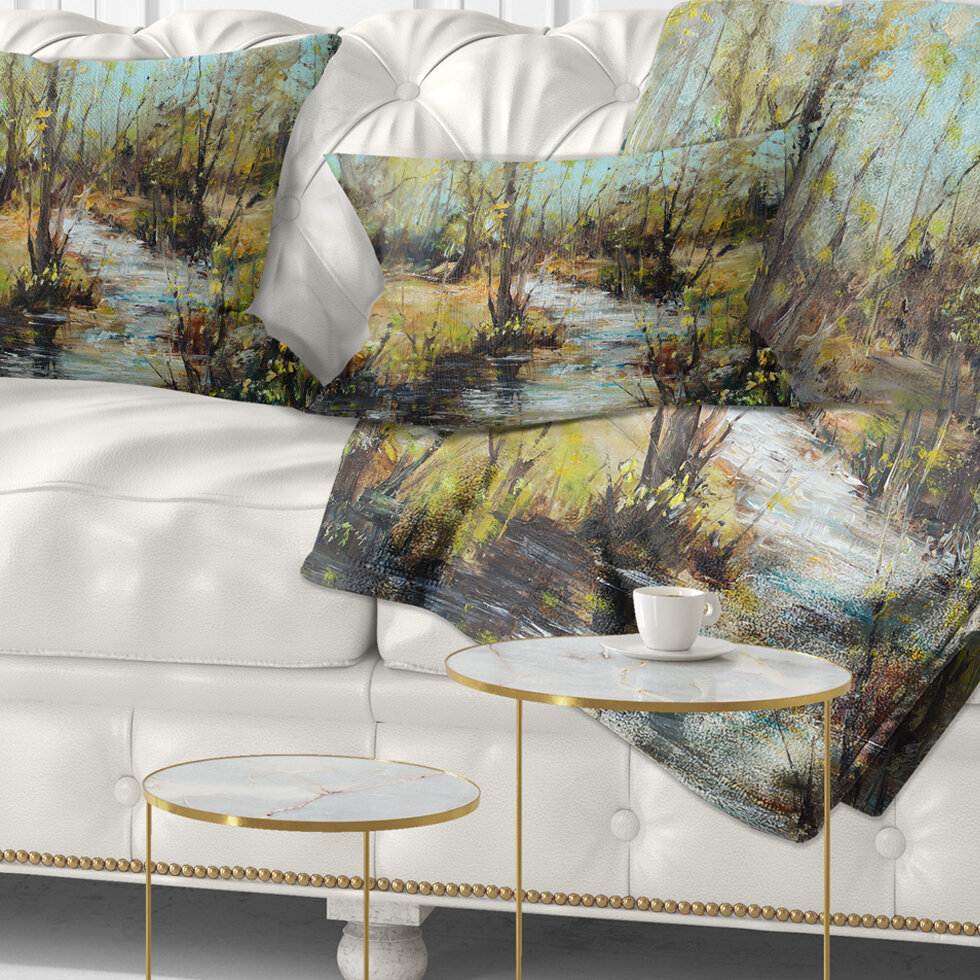 East Urban Home Landscape Creek And Woods Oil Painting Lumbar Pillow Wayfair