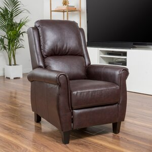 Lofton PU Leather Recliner Club Chair By Three Posts