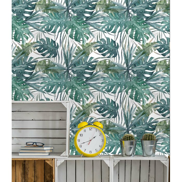 Aquin Removable Vintage Green Palm Leaves 625 L X 25 W Peel And Stick