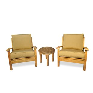 Teak 3 Piece Sunbrella Conversation Set with Cushions by Regal Teak
