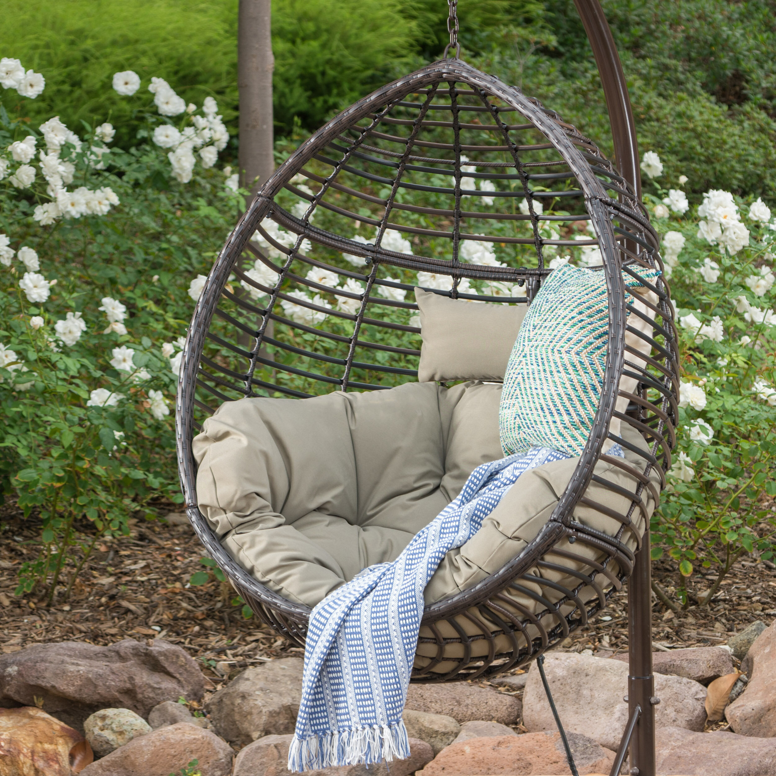 Picture of: Brayden Studio Weller Outdoor Wicker Basket Swing Chair With Stand Reviews Wayfair