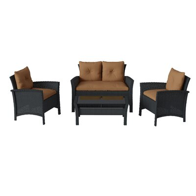 Kovac 4 Piece Rattan Sofa Seating Group with Cushions Bayou Breeze Frame Finish: Black Resin, Cushion Color: Brown