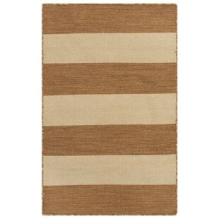 Ranier Rugby Stripe Handwoven Flatweave Brown/Beige Indoor/Outdoor Area Rug