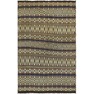 Savings One-of-a-Kind Newport Hand-Knotted 5'5 x 9' Wool Beige/Black Area Rug By Isabelline