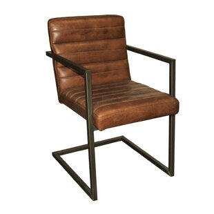 Adeline Leather/Iron Armchair by 17 Stories