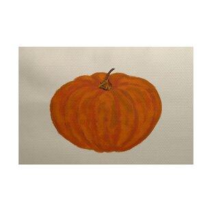 Lil' Pumpkin Holiday Print Orange Indoor/Outdoor Area Rug