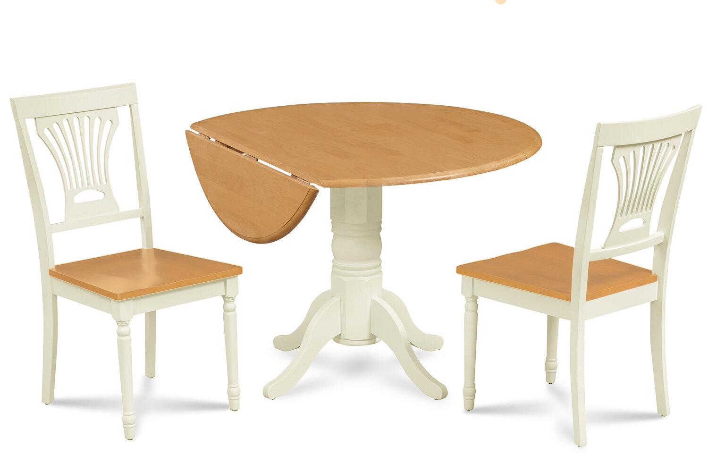 August Grove Adelyte 3 Piece Drop Leaf Solid Wood Dining Set Wayfair