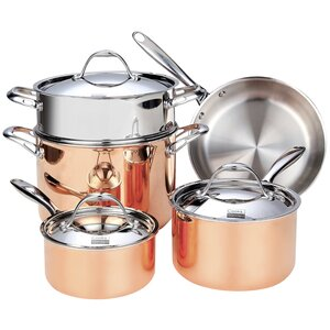 Cooks Standard Multi-Ply Clad Copper 8 Piece Cookware Set