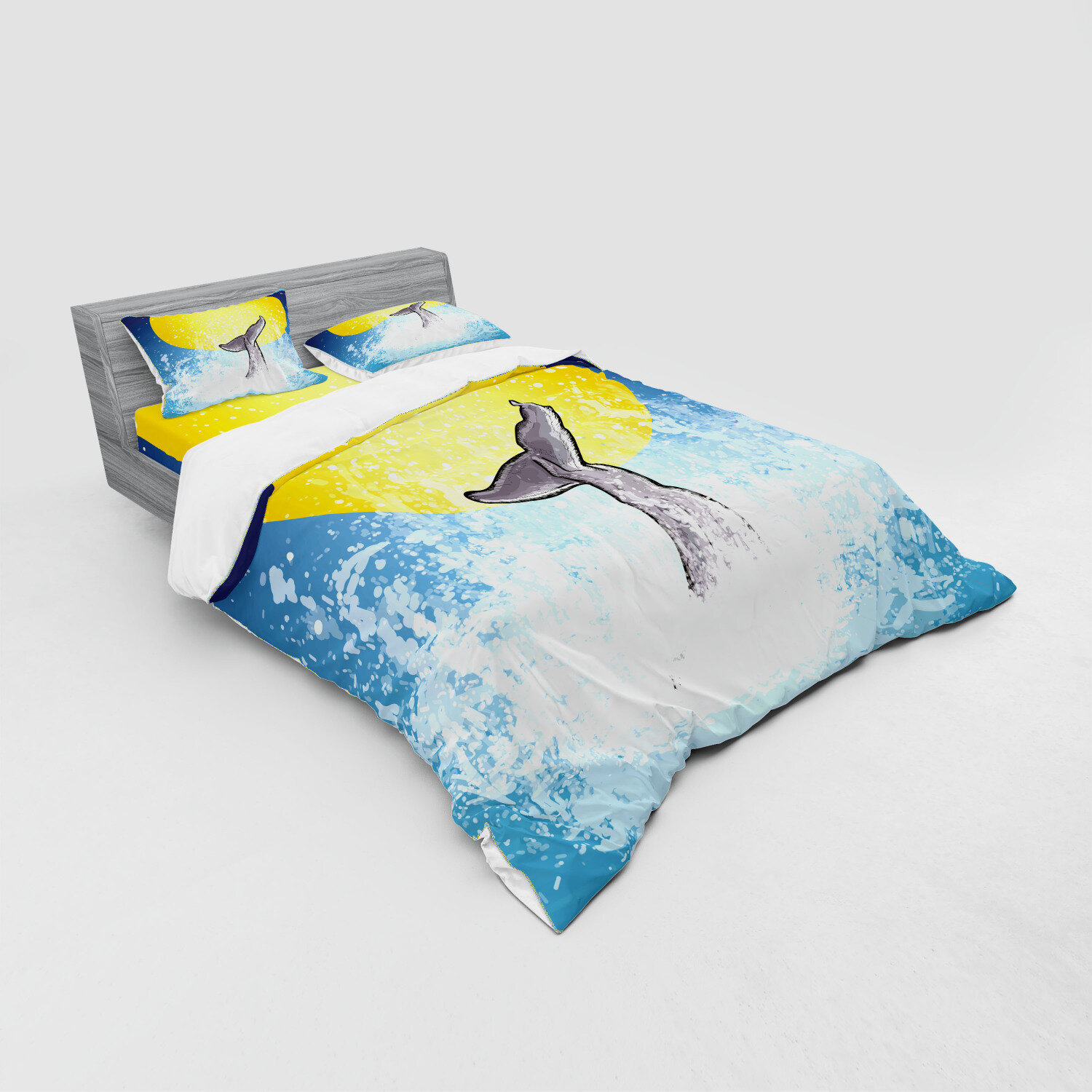 100/% Cotton Sateen Duvet Cover Twin Roostery Duvet Cover Whales Girl Nautical Ocean Sea Whale Rider Diving Life Creatures Swim Print