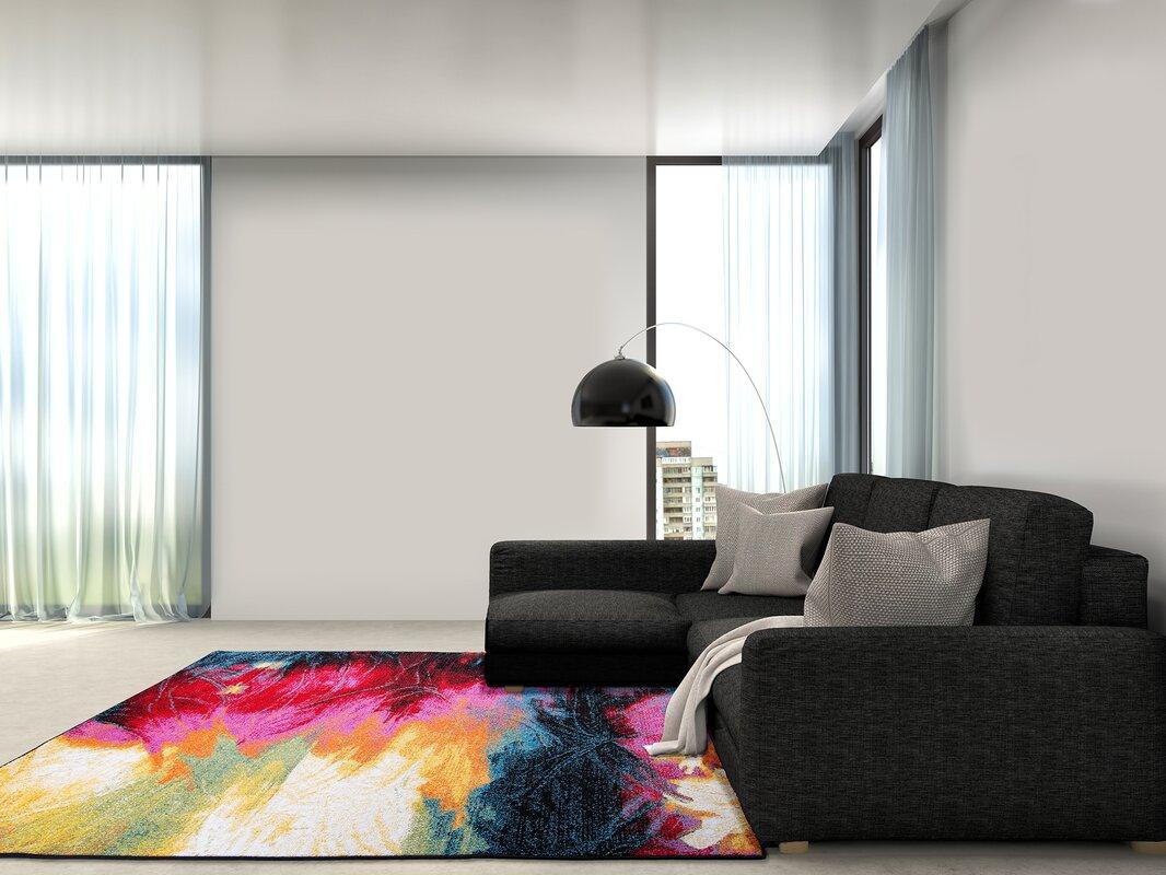 Mercury Row Brannigan Black/Pink Area Rug & Reviews   Wayfair
