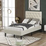 Chaley Twin Solid Wood and Upholstered Tufted Low Profile Platform Bed by Latitude Run®