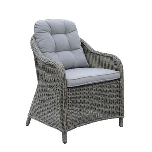 Eva Aluminum Wicker Frame Patio Chair with Cushion (Set of 2)