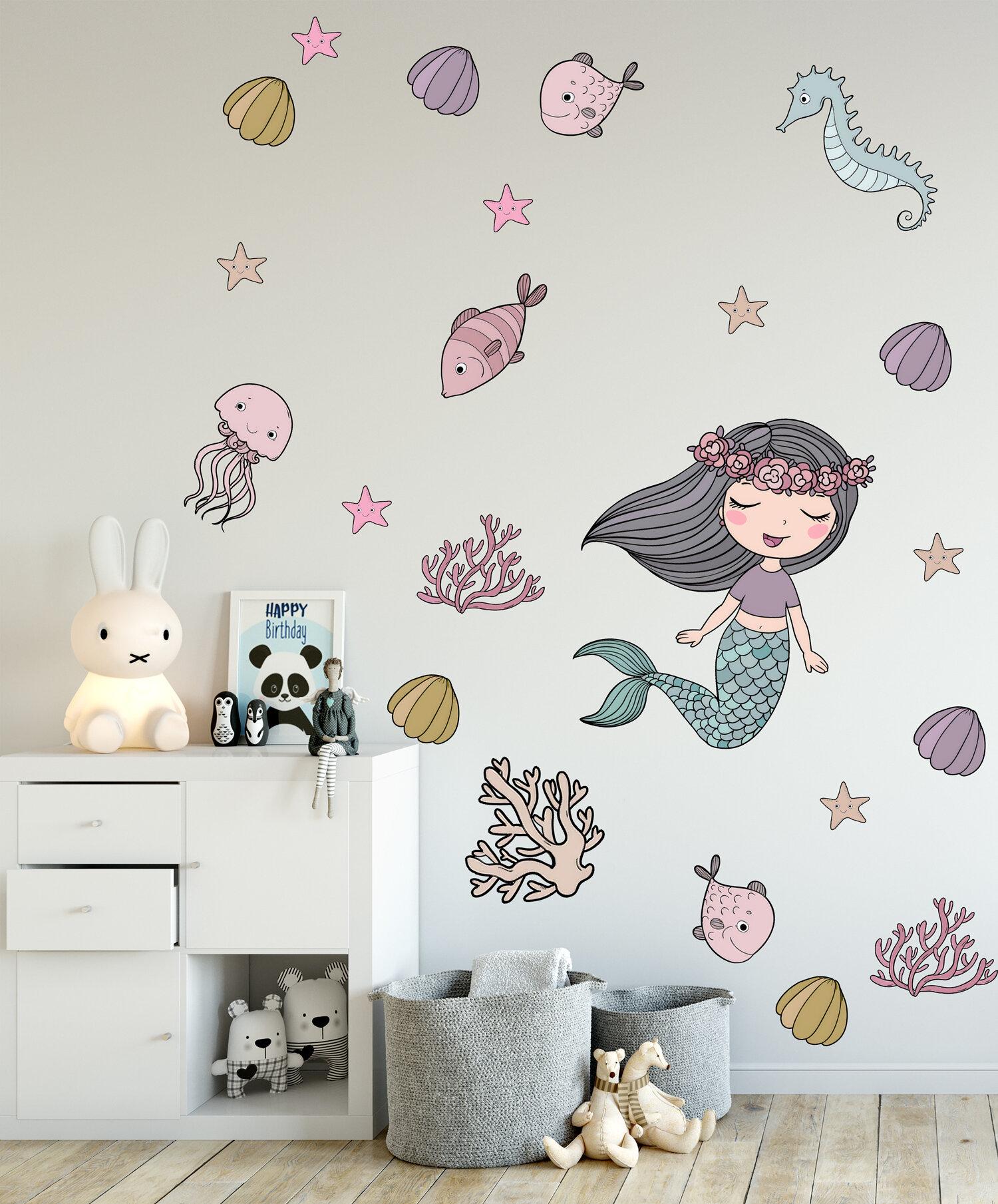 Zoomie Kids 22 Piece Mermaid Ariel Removable Wall Decal Set Wayfair