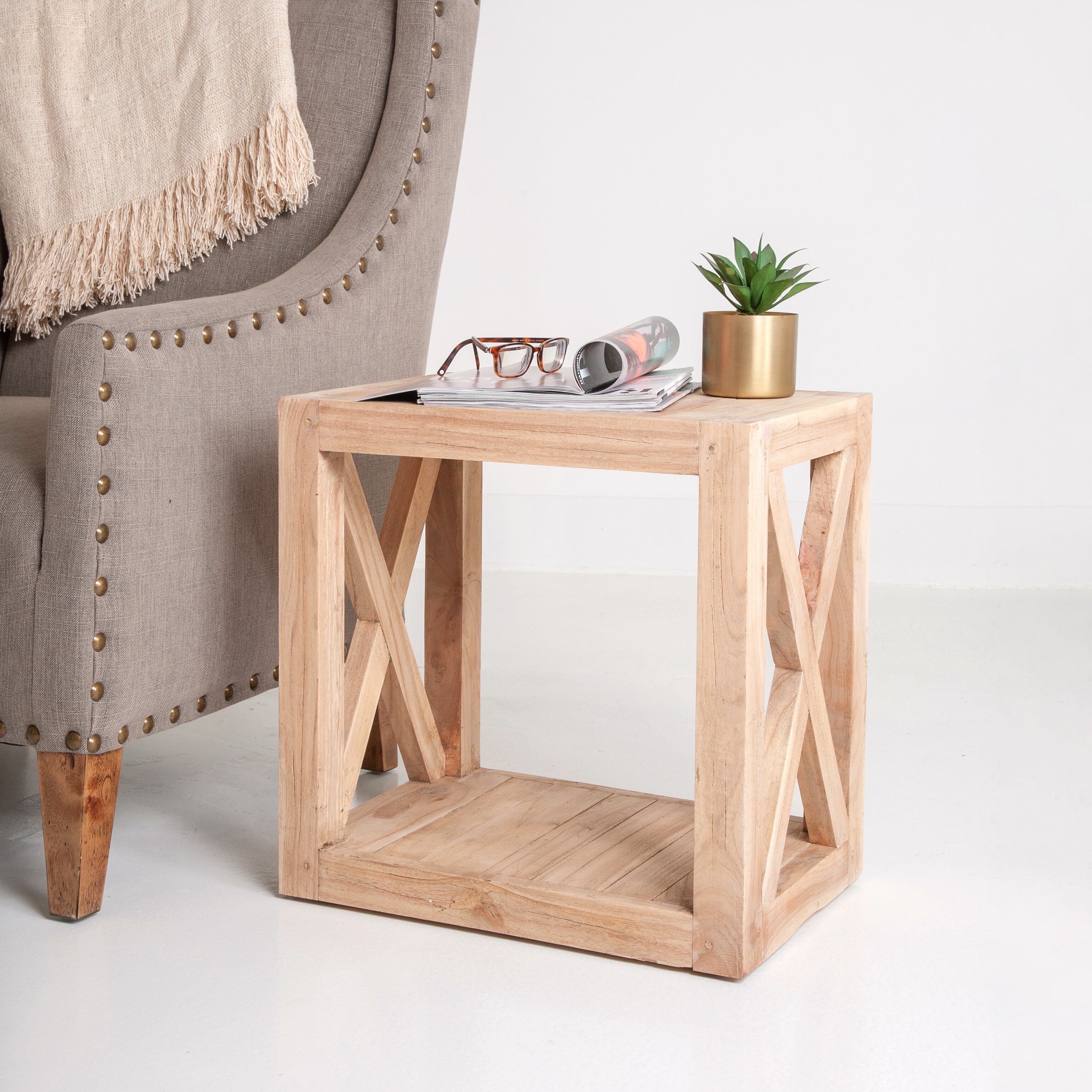 Gracie Oaks Latisha Solid Wood Floor Shelf End Table Reviews Wayfair