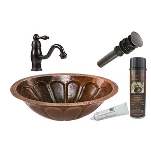 Bargain Sunburst Metal Oval Undermount Bathroom Sink with Faucet By Premier Copper Products