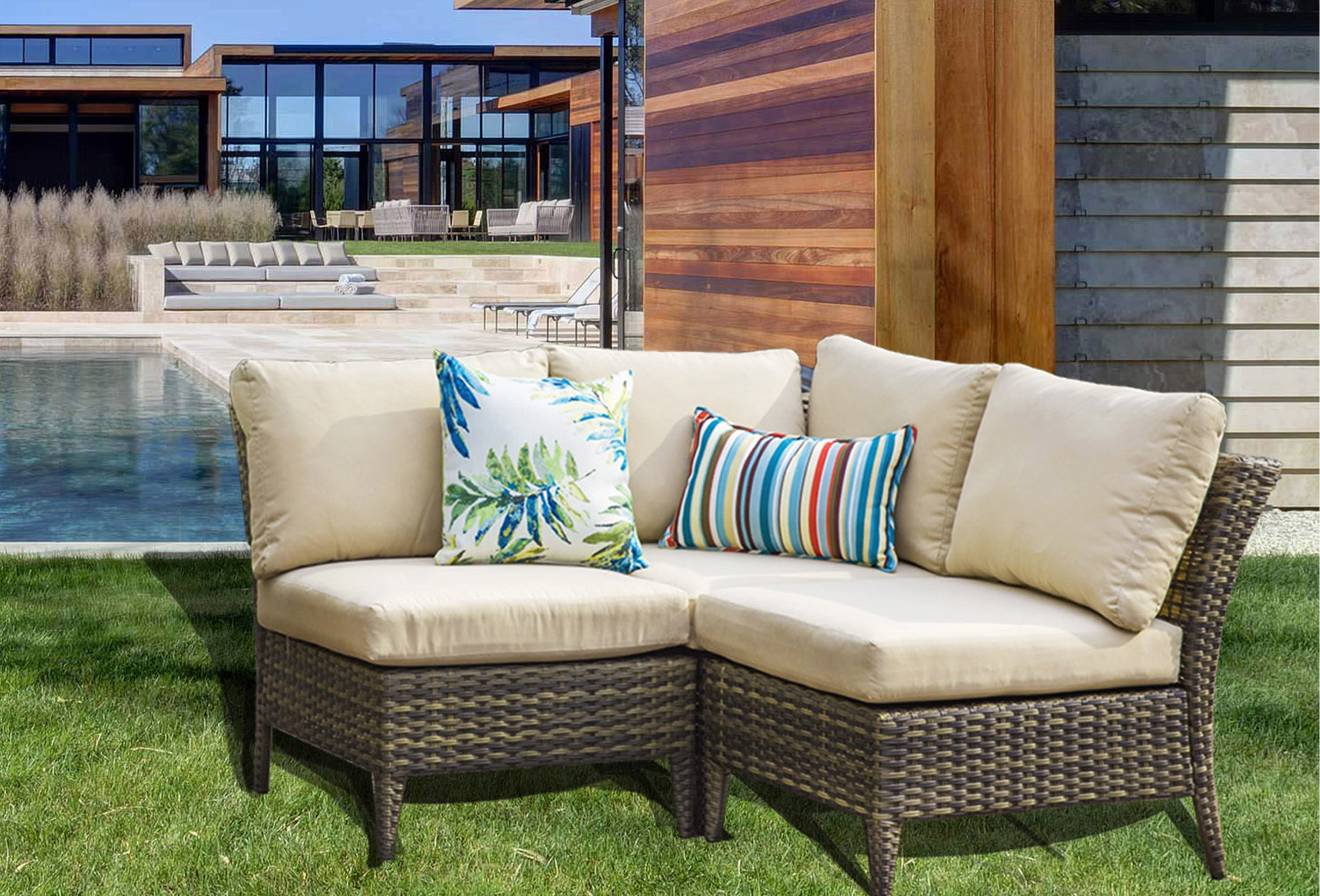 Highland Dunes Southall Outdoor 3 Piece Rattan Sectional Seating