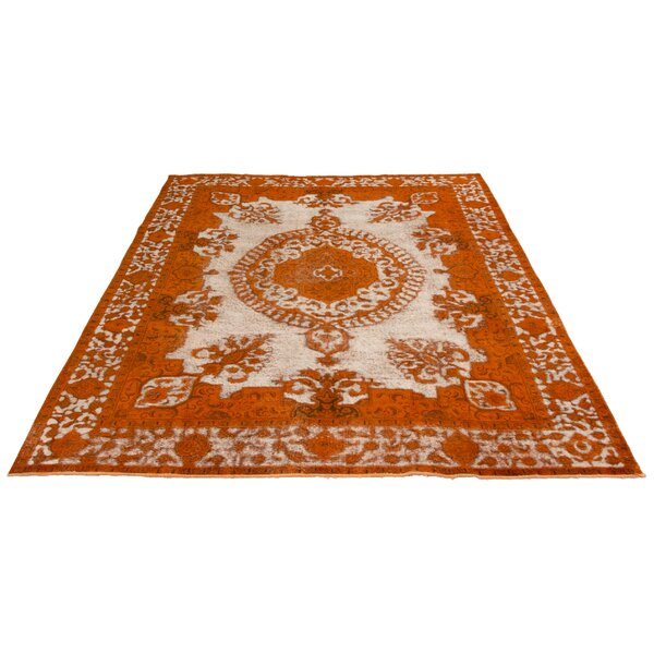 Bloomsbury Market One Of A Kind Jim Hand Knotted 1980s Overdyed Burnt Orange 9 4 X 12 6 Wool Area Rug Wayfair