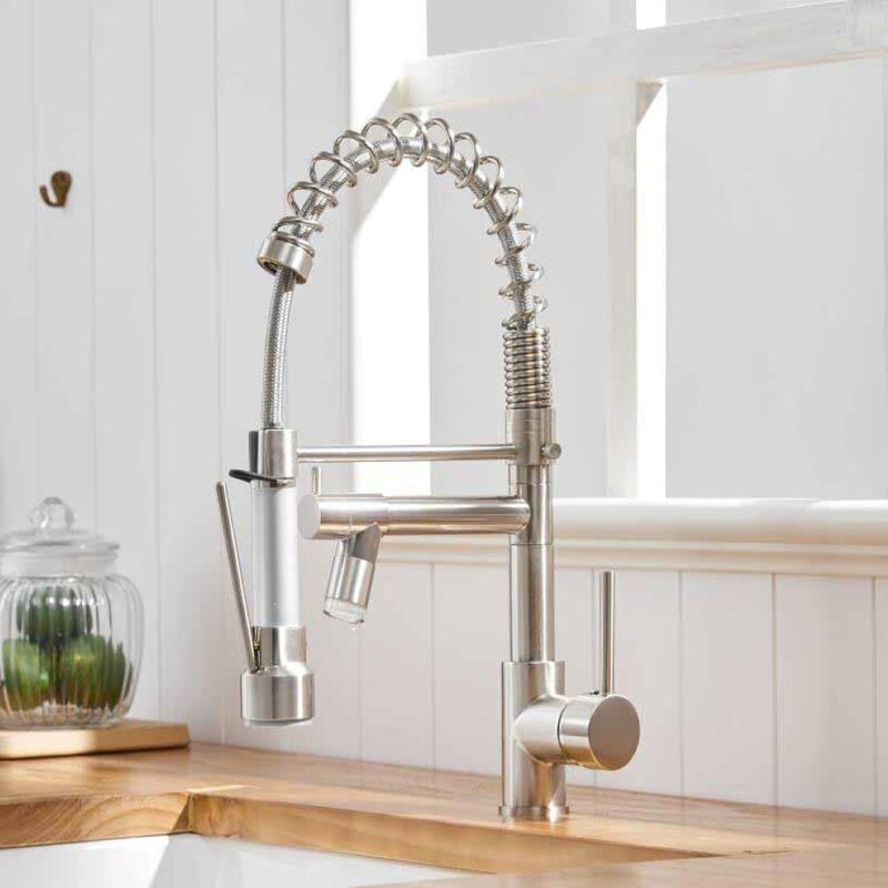 Symple Stuff Euharlee Pull Down Single Handle Kitchen Faucet With Side Spray Wayfair