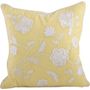 Laverna Embroided Floral Cotton Throw Pillow