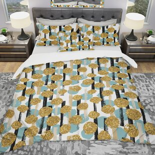 Designart Hand Drawn Glitter Circles Duvet Cover Set