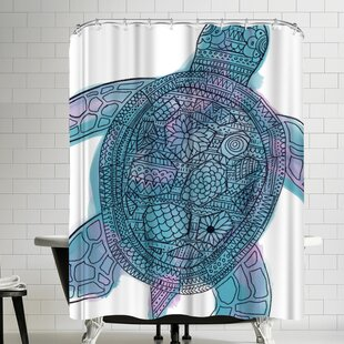 Jetty Printables Watercolor Tribal Sea Turtle Shower Curtain