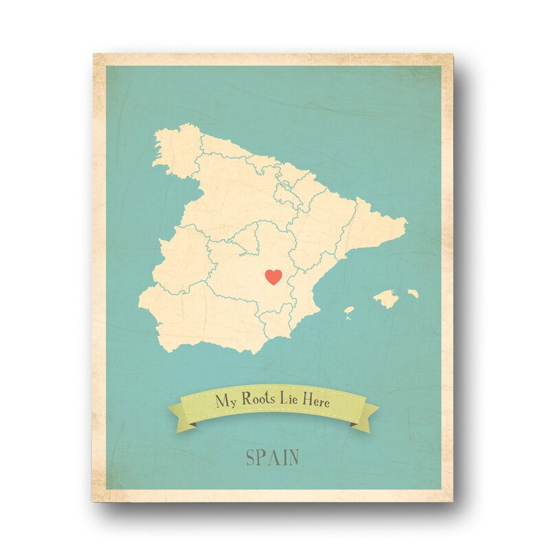 My Roots Spain Personalized Map Graphic Art on Wrapped Canvas
